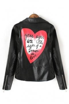 Black Faux Leather PU Red Heart Back Punk Rock Cropped Zipper Rider Jacket