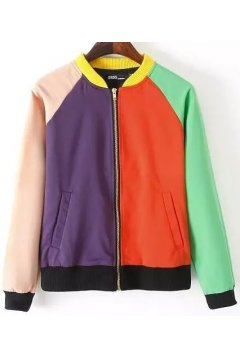 Canvas Colorful Circus Baseball Aviator Bomber Rider Jacket