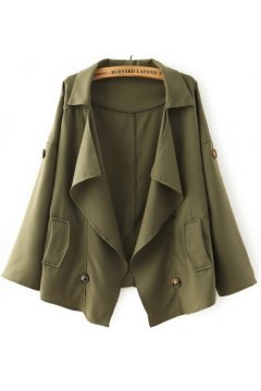 Green Military Army Long Sleeves Jacket Blazer Coat