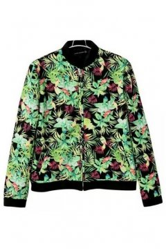 Green Oil Painting Flowers Floral Baseball Bomber Rider Jacket