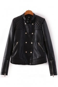 Black Faux Leather Quilted PU Cropped Punk Rock Rider Jacket Blazer