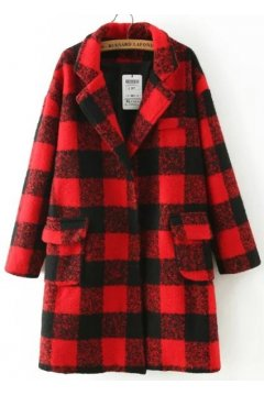 Red Black Checkers Long Sleeves Woolen Jacket Blazer Coat