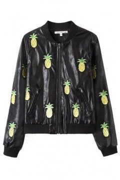 Black Faux Leather Yellow Embroidered Pineapples Rider Bomber Jacket