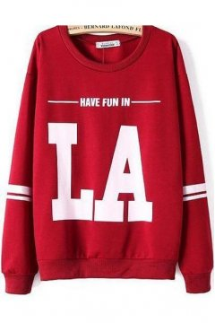 Red Fun In LA Long Sleeves Winter Sweatshirt Sweater