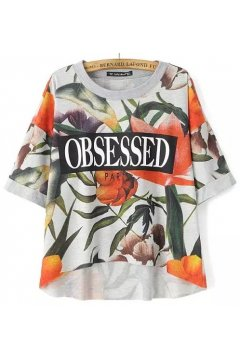 Grey Flowers Floral Obsessed Short Sleeves Cropped T Shirt