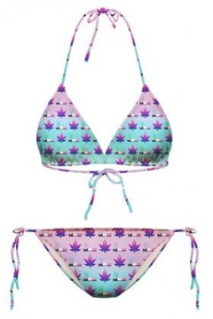 GrabMyLook Blue Maple Leaves Cigarettes Two Piece Sexy Bikini Swimwear