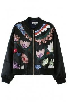 Satin Black Colorful Tribal Embroidered Baseball Aviator Bomber Rider Jacket