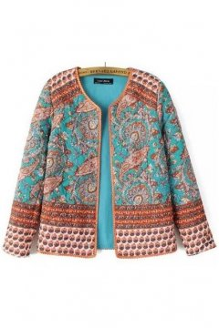 Blue Orange Quilted Floral Flowers Tribal Retro Paisley Vintage Pattern Long Sleeves Jacket