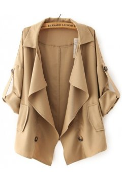 Brown Beige Military Army Long Sleeves Jacket Blazer Coat