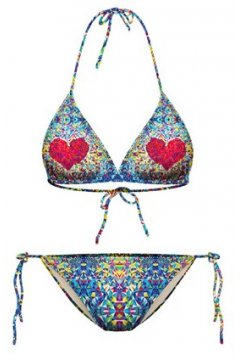 GrabMyLook Blue Diamond Red Heart Two Piece Sexy Bikini Swimwear