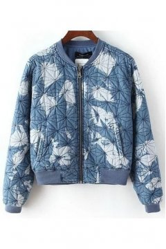 Blue Denim Washed Vintage Jeans Tie Dye Baseball Aviator Bomber Rider Jacket