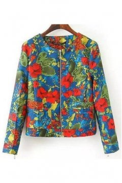 Blue Red Flowers Colorful Abstract Suede Aviator Cropped Rider Jacket