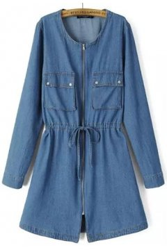 Denim Blue Jeans Military Army Long Sleeves Jacket Blazer Trench Coat