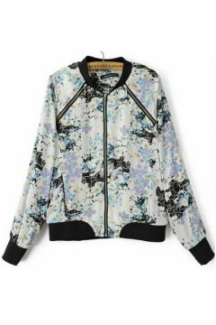 Blue White Camomile Pattern Baseball Aviator Bomber Rider Jacket