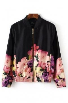 Black Satin Colorful Vintage Pink Purple Flowers Baseball Aviator Bomber Rider Jacket