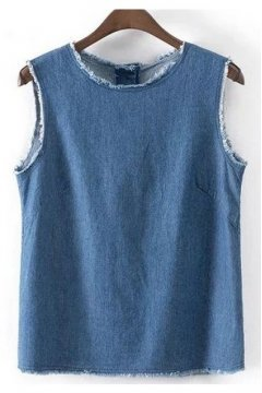 Vintage Denim Blue Jeans Stylish Tank Top Sleeveless Shirt