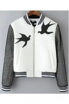 White Swallow Black Net Baseball Aviator Bomber Rider Jacket
