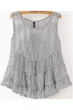 Black Blue Stripes Sleeveless A Line Ruffles Baby Doll Tank Top Shirt