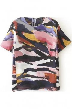 Colorful Abstract Camouflage Round Neck Short Sleeves Top Shirt