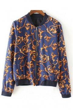 Blue Gold Vintage Baroque Pattern Baseball Bomber Rider Jacket