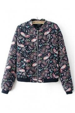 Blue Vintage Colorful Paisley Baseball Aviator Bomber Rider Jacket