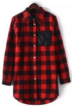 Red Black Checkers Plaid Tartan Punk Rock Long Sleeves Shirt Blouse