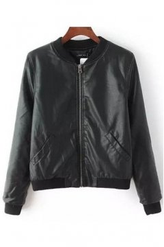 Black Faux Leather PU Rider Bomber Parka Jacket
