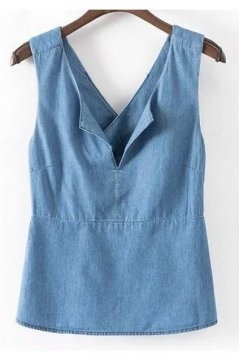 Vintage Denim Blue Jeans Tank Top Cami