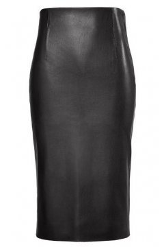 Black Faux Leather PU Bodycon Sexy Pencil Knee Skirt