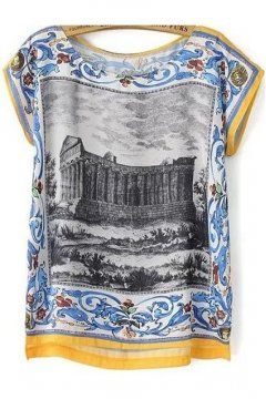 Vintage Retro Ancient Greek Theatre Oil Painting Sleeveless Chiffon Top T Shirt