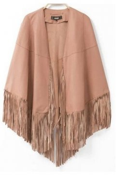 Black Beige Faux Leather PU Fringes Cape Jacket Coat
