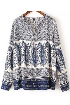 Blue White Antique Paisley Retro Pattern Chiffon Long Sleeves Shirt Blouse