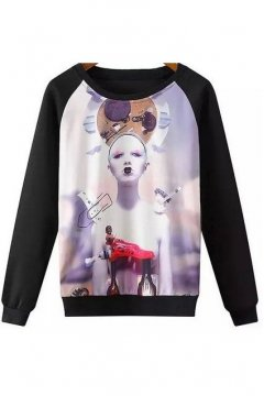 Black Lady Harajuku Mysterious Artistic Long Sleeves Winter Sweatshirt Sweater