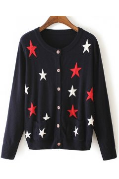 Black Yellow Grey Stars Long Sleeves Blazer Coat Cardigan