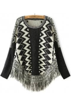 Beige Black Tribal Ethnic Pattern Tassels Long Sleeves Cape Cardigan Sweater