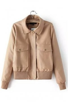 Beige Faux Leather PU Rider Parka Jacket