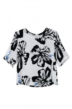 Black White Chiffon Flowers Floral Round Neck 3/4 Sleeves Top Shirt