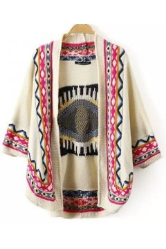 Cream Colorful Giant Eye Tribal Enthic Pattern Woolen Long Sleeves Blouse Cardigan