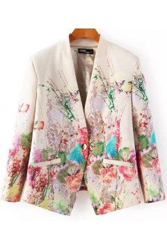 Cream Vintage Oil Painting Floral Pattern Long Sleeves Jacket Blazer