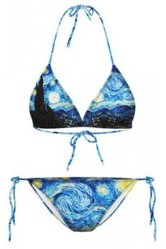 GrabMyLook Blue Starry Night Van Gogh Two Piece Sexy Bikini Swimwear