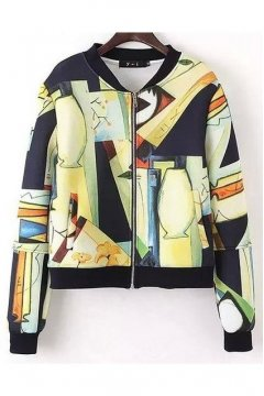 Colorful Abstract Painting Baseball Aviator Bomber Rider Jacket