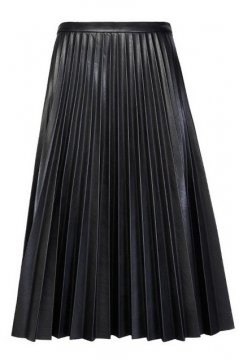 Black Faux Leather PU Pleated A Line Long Maxi Knee Skirt