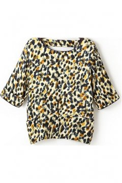 Vintage Tribal Leopard Print Round Neck V Back Mid Sleeves Top T Shirt