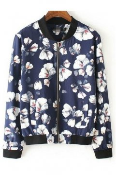 Blue White Flower Pattern Baseball Bomber Rider Jacket