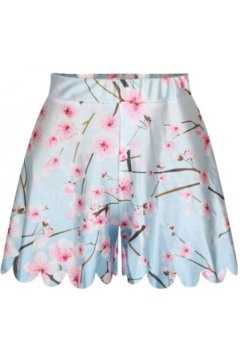 GrabMyLook Light Blue Pink Flower Autumn Skirt Shorts Hot Pants