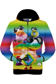 Colorful Rainbow Funky Sheep in Glasses Long Sleeves Mens Jacket Hooded Hoodies