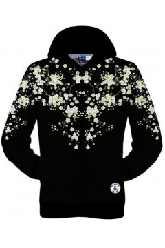 Black White Flower Floral Long Sleeves Mens Jacket Hooded Hoodies