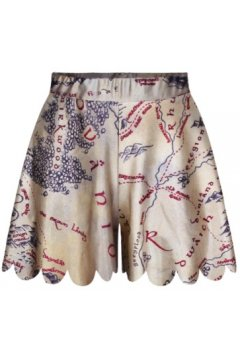 GrabMyLook Beige Ancient Map Greece Skirt Shorts Hot Pants