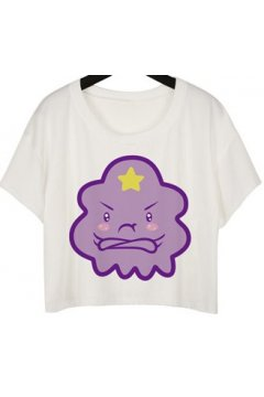 GrabMyLook Purple Grumpy Cloud Cropped Short Sleeves T Shirt