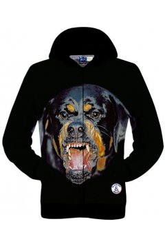 Black Fierce Dog Rottweiler Long Sleeves Mens Jacket Hooded Hoodies